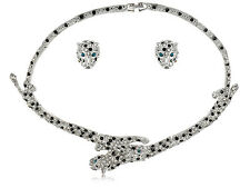 Zoo Leopard Double Headed Panther Spots Crystal Rhinestones Necklace Earring Set
