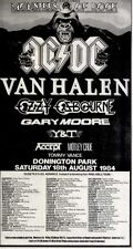 21/7/84pg53 Monsters Of Rock Concert Advert 10x5 Ac/dc, Van Halen, Ozzy Osbourne