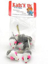 Rabbit Fur Mouse with Rattle Cat Toy - 10 Pak