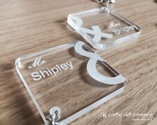 Personalised Mr & Mrs Wedding Engraved acrylic keyring set WEDDING gift present