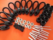 BUNGEE BUNJI LOOPS 70 MM + KNOBS BLACK X 10 UTE TONNEAU REPAIR KIT INC POSTAGE