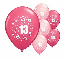 "8 x 13TH BIRTHDAY PINK MIX 12"" HELIUM OR AIRFILL BALLOONS (PA)"