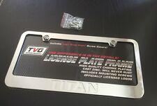 NISSAN TITAN CHROME LICENSE PLATE FRAME BLACK ENGRAVED LETTERS CAP COVERS