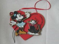 VTG DISNEY MINNIE MOUSE & Kitty Wooden Heart Christmas Ornament Undated Taiwan