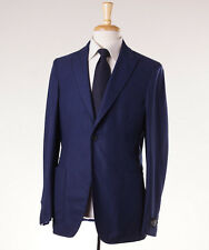 NWT $2595 BELVEST Navy Blue 1B Peak Lapel 140s Wool Blazer Slim 40 R Sport Coat