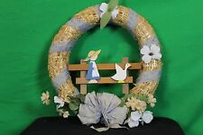 "Vintage 14"" Straw Wreath With Flowers And Ribbon Antique Wall Door Decoration"
