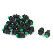 20 Pcs 12.5mm Thread Green Cap SPST Latching Type Push Button Switch OFF-ON