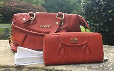 NWT Coach F19247 Ashley Leather Satchel Handbag & Wallet Purse color/Vermillion