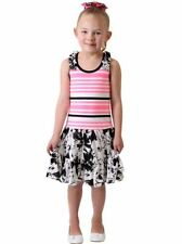 NEW Jona Michelle Girls' Casual Sleeveless SUMMER Dresses Pink/Black Floral 6