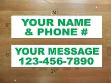 """10 6""""x24"""" White & Green REAL ESTATE NAME RIDER SIGNS CUSTOM LOWEST PRICE NEW"""