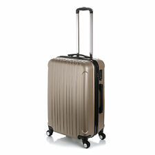 "24"" Lightweight Luggage Travel Bag ABS Trolley Hard Shell Suitcase ~ Champagne"