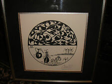 Unusual Abstract Drawing Of Worms & Patterns-Signed Cain 92-Black & White Art