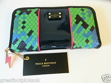 PAUL'S BOUTIQUE Lizzie Green/Blue Large Zip Around Purse Wallet BNWT