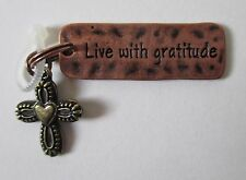 q Live with Gratitude Cross SIMPLY TAGS N CHARMS double Charm Pendant Ganz