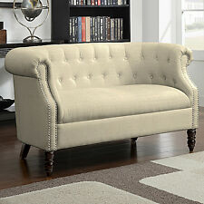 Beige Tufted Loveseat English Accent Living Room Wood Furniture Settee Sofa Chai