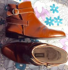 vintage 80s designer Bally brown leather strap & buckle sturdy ankle boots 4 37