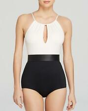 NWT NEW Carmen Marc Valvo Dimension High Neck Pleated Maillot On Piece 6 mr27