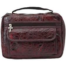 Womens Genuine Leather Bible Cover, Red Alligator Book Protector Cover Tote Case