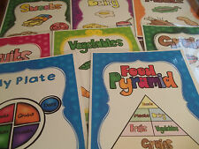8 laminated Food Pyrmaid Classroom Anchor Chart Posters.  Health.  8x11 in