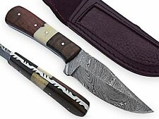 Mora Hunting Knife Hand made Damascus steel blade wood handle AT-1821