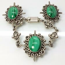 Vintage Taxco Malachite Oval Sterling Silver 925 Bracelet Earrings Set 52g 7""