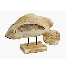 """Teakholz Wohnraumdekoration Skulptur """"Fisch"""" Deko Teak Holz"""