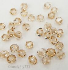 144x SWAROVSKI 5328 GOLDEN SHADOW 2.5mm BICONE XILION CRYSTAL BEAD