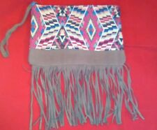 AMERICAN EAGLE AE MULTI COLOR TRIBAL PRINT CLUTCH PURSE WITH SUEDE TASSLES