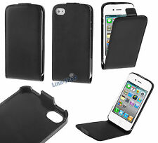 Per Apple Iphone 4 4S Custodia Nera Flip Eco Pelle Cover Case Magnetica Proteggi