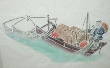 CHINESE FISHERMAN ON A BOAT ORIGINAL WATERCOLOR PAINTING UNSIGNED