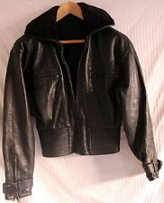 Vntage Black Sheepskin & Leather Women's Bomber Flight Jacket sz M RiRi Zipper