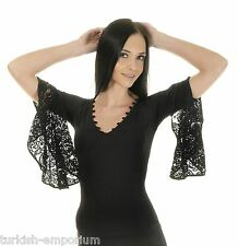 Black Victorian Gothic Rock Medieval Lace Sleeves Top Tribal Flamenco Tango M/L