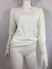 ATMOSPHERE CREAM THIN KNIT JUMPER WITH DECORATIVE SHOULDER BUTTONS SIZE 10
