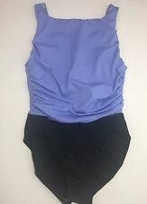 Miraclesuit Size 8 Purple Black One Piece Made In USA Swimsuit Bathing Suit Med