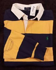 NWT Men's Polo Ralph Lauren Yellow Blue Striped Rugby Polo Shirt 2XB $125