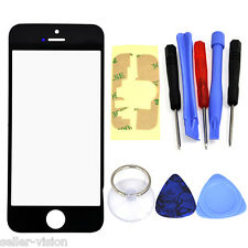 Black iPhone 5 5S 5C Replacement Front Outer Glass Screen Lens & 10 Tools Kit