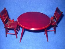 Dollhouse miniature: mahogany round table, 2 chairs, Classics 1:12 scale CL91265