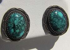 Turquoise Chinese & Sterling Silver Native American Navajo Earrings Signed AB