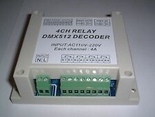 240V AC Rail or panel mounting boxed 4CH dmx512 relay Controller UK Stock