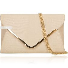 New Beige Champagne Croc Print  Envelope Evening Ladies Party Clutch Hand Bag