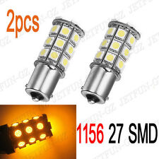 2X Amber Yellow 1156 BA15S 27 SMD 5050 LED Light Bulb Turn Signal Backup Reverse