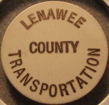 White Lenawee County Transportation Adrian, MI Transit Bus Token Michigan