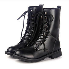 2016 Lady Fall Knight Boots Martin Mid-Calf Boot Low heel Rider Chunky Shoes