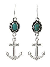 Silver Plated Turqu Crystal Dangle Anchor Pierced Earrings New Nautical