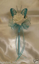 Wedding Flowers Bridesmaids Flower Girl Teal Butterfly Tiffany Ribbons Ivory