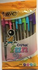 Bic Cristal Fun Colour Ball Point Pens 1.6mm Blue Green Pink Purple Pack of Ten