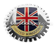 1 - NEW Chrome Front Grill Badge UK Great Britain Flag UNITED KINGDOM MEDALLION