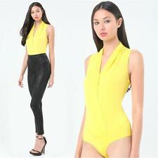 BEBE YELLOW SILK SLEEVELESS WRAP BODYSUIT TOP NEW NWT LARGE L