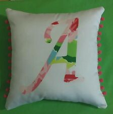 NEW Initial pillow made with LILLY PULITZER Hotty Pink First Impression fabric