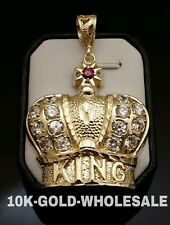 NEW 10K YELLOW GOLD CROWN KING HIP HOP STYLE PENDANT MENS & LADIES CHARM-3472